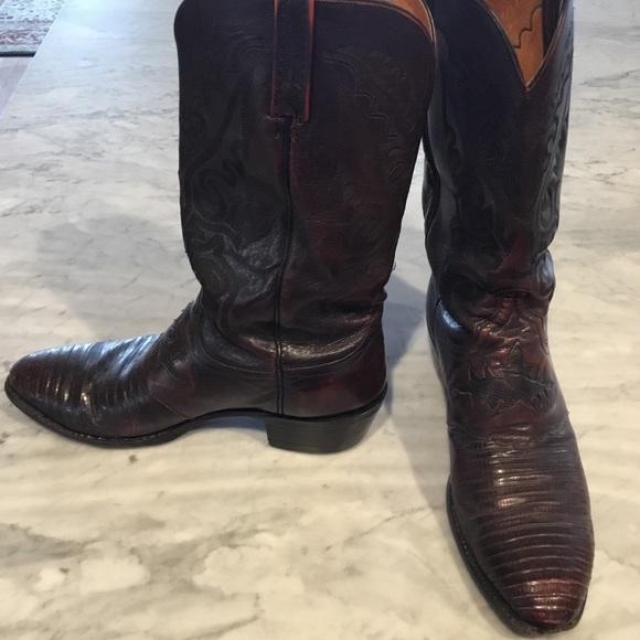6bc66466ea4 Lucchese black cherry lizard men's boots 11.5 D